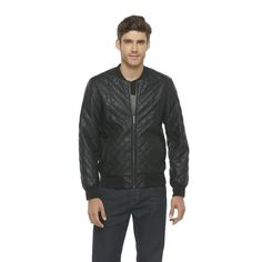 Structure Men's Quilted Bomber Jacket black Faux Leather size M, L NEW  29.99 http://www.ebay.com/itm/Structure-Mens-Quilted-Bomber-Jacket-black-Faux-Leather-size-M-L-NEW-/231530587803?ssPageName=STRK:MESE:IT