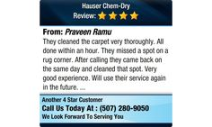 They cleaned the carpet very thoroughly. All done within an hour. They missed a spot on a...