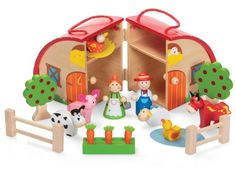 Wooden Farm Playset Tobar http://www.amazon.co.uk/dp/B00IEA9LGC/ref=cm_sw_r_pi_dp_-4aPvb1GSQ1FN - this is a beautifully made, sweet little wooden farm -  cute enough to keep out on display when your wee ones aren't playing with it!