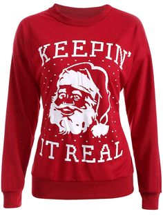 $11.85 Streetwear Christmas Santa Claus Head Sweatshirt