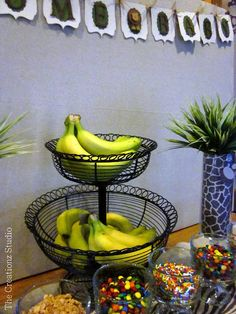 Since we are having a summer party, this would be cute :) banana split bar... Cute idea for a jungle themed baby shower