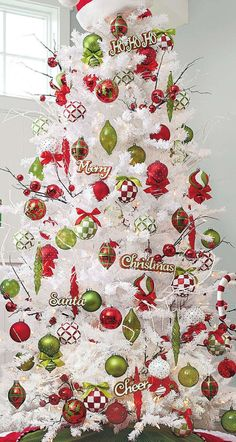 Grandin Road White Iced Fir Tree with Green/Red Ornaments