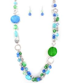 Long Green Blue Glass Bead Silver Tone Chain Chic Fashion Necklace Earrings Set #DazzledByJewels #Necklace #Earrings #Drop #Dangle #MultiColor #Teen #Women #Spring #Summer #Gift