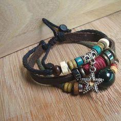 Folk style leather bracelet