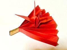 折り紙 鶴の扇      Origami Fan of crane