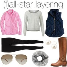 layering--simple with leggings, gray scarf, brown boots and just colored button up and vest