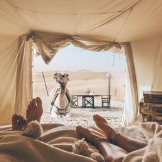 Waking up to this! Scarabeo Camp, Morocco.