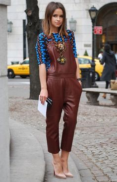 Street Style Special Edition: Industry Style-Crush Miroslava Duma On Looking Like a 'Stylish Cabbage' Miroslava Duma rocking a pair of deep oxblood leather overalls by Acne, upping the luxe factor in a what has historically been a denim-only look Style Désinvolte Chic, Mode Style, Her Style, Miroslava Duma, Look Fashion, Autumn Fashion, Fashion Glamour, Trendy Fashion, Leather Overalls