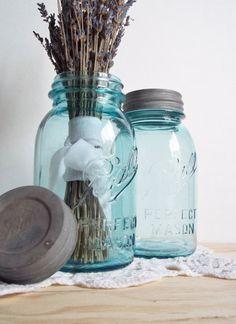 Pair Vintage Aqua Mason Jars Aqua Wedding by SPARKLESandSASS, $19.00