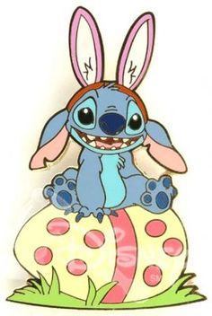 Stitch sits on his Easter egg pin from Disney