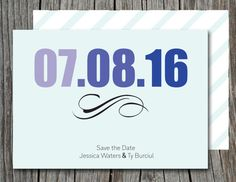 Simple and modern Blue Stripes DIY Save the Dates. Print from home.