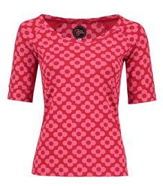 Tante Betsy raglan big flower red shirt floral print bloemenprint tshirt top rood