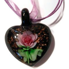 Murano heart shape pendant by SweetNSassyJewelry on Etsy, $8.99