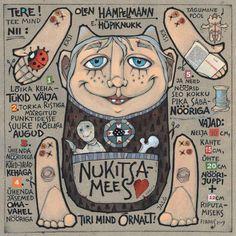 """Postkaart-hampelmann """"Nukitsamees"""", 2008, segatehnika"""