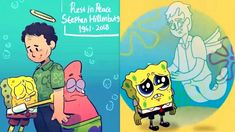 SpongeBob Squarepants Creator Stephen Hillenburg Passes Away & Artists P. Spongebob Squarepants Tv Show, Spongebob Squidward, Spongebob Drawings, Cartoon Drawings, Cartoon Crossovers, Cartoon Movies, Spongebob Background, Stephen Hillenburg, Fanart
