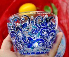 Кружки и чашки ручной работы. Ярмарка Мастеров - ручная работа. Купить Чашка с блюдцем стеклянные в технике точечная роспись. Handmade.