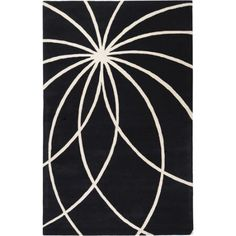 Art of Knot Douglas Wool Area Rug, Black