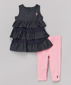 Loving this Black Ruffle Tank & Pink Leggings - Infant, Toddler & Girls on #zulily! #zulilyfinds