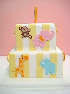 Cute baby shower or kids birthday cake with stripes & safari animal detail Fancy Cakes, Cute Cakes, Make Birthday Cake, Cupcakes Decorados, Shower Bebe, Animal Cakes, Gorgeous Cakes, Baby Kind, Love Cake
