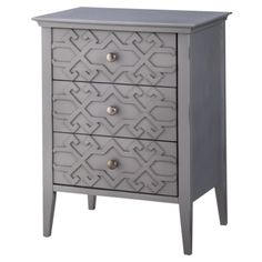 Threshold™ 3 Drawer Fretwork Accent Table - Gray