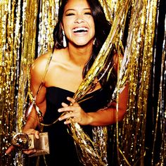 "Gina Rodriguez (@hereisgina) -- Best Actress in a TV Series, Comedy, ""Jane the Virgin"" #goldenglobes (Photo by @ellenvonunwerth)"