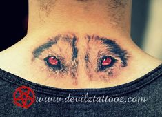 Tattoo Art Work by Tattoo Artist - wolf eyes color back tattoo