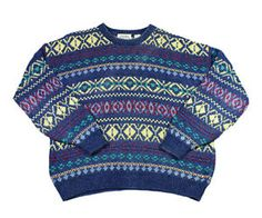 Vintage #90s Nordic Sweater Blue/Yellow Mens Size Large