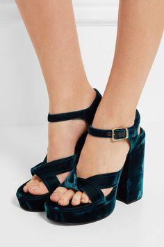 Jil Sander | Velvet platform sandals | NET-A-PORTER.COM