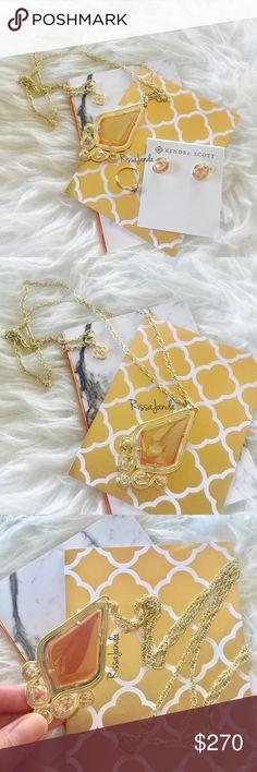 Kendra Scott Iridescent Tangerine Set HTF items! Retired pieces. NWOT, never worn. Teresa Necklace + Yurko Earring + Ring size 7. Selling as set. Not separating 💛💛 Kendra Scott Jewelry Necklaces
