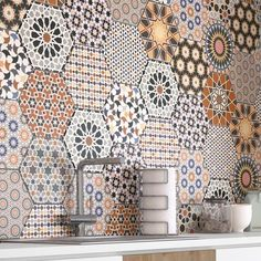 Collection of porcelain stoneware tiles available in one single format and colour, although it includes up to 24 different designs (which come mixed in the boxes). Reflection of the typical Andalusian ceramics Kitchen Tiles, Kitchen Design, Persian Restaurant, Wall Tiles Design, Hexagon Tiles, Home Reno, Spanish Style, Mosaic Art, Kitchen Storage