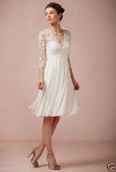 Refined-V-Neck-Knee-Length-Dress-Lace-Chiffon-Bridal-Wedding-Dress-Short-Dress
