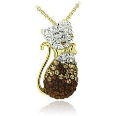 Crystal Ice Goldtone Multi-color Crystal Cat Necklace with Swarovski... ($19) ❤ liked on Polyvore featuring jewelry, necklaces, yellow, long chain necklace, yellow pendant necklace, yellow necklace, pendant necklaces and crystal pendant necklace