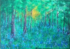 Woodland Sunset. Acrylic on canvas. See more at https://www.artfinder.com/tina-hiles