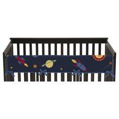 Sweet Jojo Designs Space Galaxy Long Crib Rail Guard Cover - Navy