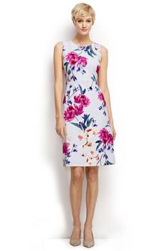 Lands' End | Chic Shift, Bright Floral on White Background | Model: Noreen Carmody