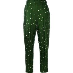 3.1 Phillip Lim polka dot tailored trousers ($650) ❤ liked on Polyvore featuring pants, green, green silk pants, green pants, silk pants, stretch waist pants and patterned trousers