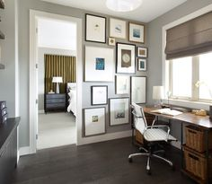 Lovely More Gray Paint Color Ideas. Home Office Paint Color With Dark Wood Floor  And Desk.