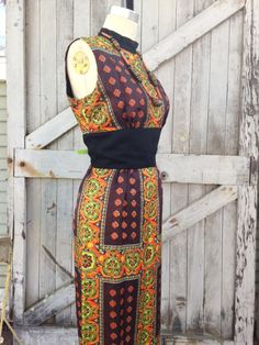 Moving sale 1960s ethnic maxi dress 60s sleeveless by melsvanity