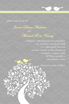Custom Love Birds and Tree Wedding Invitation