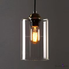 Industrial Adjustable Mini Pendant Light - LITFAD Pendant Lamp with Cylindrical Shade in Clear Glass Ceiling Light Chandelier Mounted Lighting Fixture for Kitchen Restaurant Bedroom Cafe Bar Industrial Pendant Lights, Kitchen Pendant Lighting, Mini Pendant Lights, Pendant Lamp, Industrial Style, Kitchen Pendants, Glass Kitchen, Glass Pendants, Kitchen Island