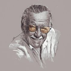 Stan Lee by Grzegorz Domaradzki. Stan Lee, Rest In Peace, A Comics, Marvel, Illustrations, Drawings, Painting, Inspiration, Instagram