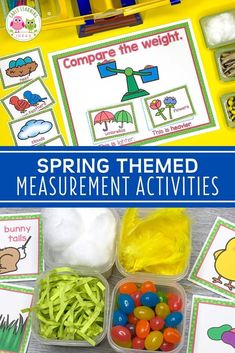 Get out your balance scale or bucket scale!  Here are lots of spring and summer-themed material ideas that you can use in your weighing station.  Create a weight station in your math center, science center, or STEM center.  Find lots of material ideas and printables to create your own measurement learning center in your preschool, pre-k and kindergarten classroom.  Perfect for Easter theme, garden theme, bug theme, weather theme, ocean theme etc.  Your kids will love this hands-on math…