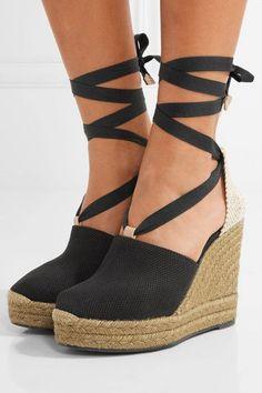 1d8fd6e8df8 Castañer - Nerea Canvas Wedge Espadrilles - Black - IT40 Zapatos