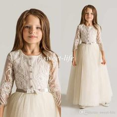 Latest Crew Lace Tulle Flower Girls Dresses For Wedding Long Sleeves Appliques Ruched 2015 New First Communion Kids Gowns Cheap Top Quality Online with $57.23/Piece on Sweet-life's Store | DHgate.com