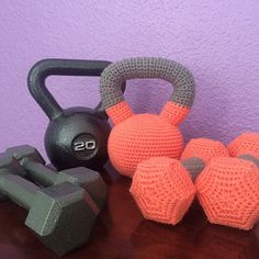 Crochet dumbbells and kettlebell. by BabyBellCrafts on Etsy