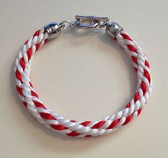 Red and White Braided Kumihimo Bracelet by JewelleryByJanine, £10.00
