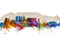 Trademark Art Cape Town South Africa Skyline by Michael Tompsett Graphic Art on Wrapped Canvas Size: Canvas Artwork, Artist Canvas, Canvas Prints, Lotus Flower Mandala, Le Cap, Cityscape Art, Flower Wall Decals, Cape Town South Africa, Painting Prints