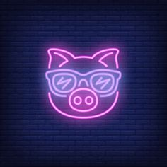 Cute cartoon pink pig in sunglasses. Wallpaper Iphone Neon, Neon Wallpaper, Neon Words, Nixie Tube, Photos Hd, Neon Room, Neon Design, Neon Light Signs, Iphone Icon
