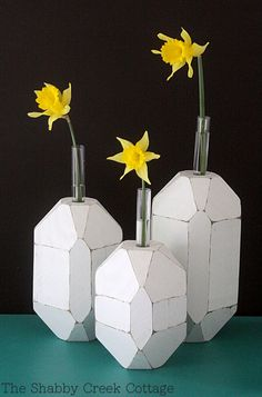 how to make faceted bud vases via The Shabby Creek Cottage