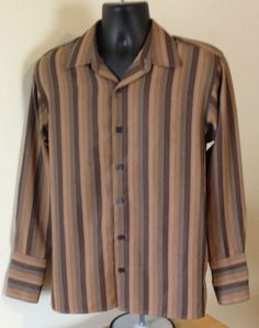 Retro Vintage Style  Brown Shirt Mens Button Front, L/S,99%poly,1% Other fiber!! #VintageRed #ButtonFront